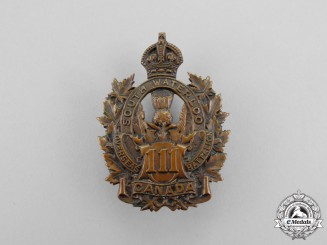 """A First War 111th Infantry Battalion """"South Waterloo Battalion"""" Cap Badge"""