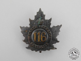 """A First War 116th Infantry Battalion """"Ontario County Infantry Battalion"""" Cap Badge"""