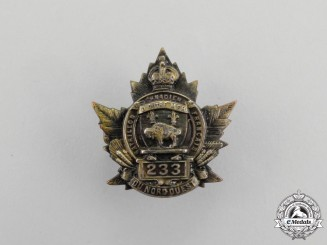 """A First War 233rd Infantry Battalion """"Canadiens Francais"""" Officer's Collar Badge"""