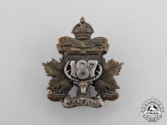 "A First War 187th Infantry Battalion ""Central Alberta Battalion"" Officer's Collar Badge"