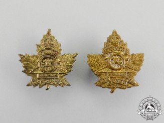 A First War Royal Canadian Garrison Artillery Collar Badge Pair