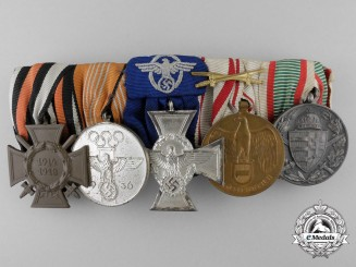 A 1936 German Olympic& First War Medal Bar of Five Awards