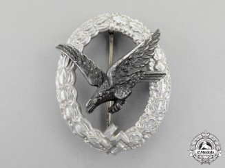 A Fine Luftwaffe Radio Operator Badge by Hermann Aurich; Aluminum Version
