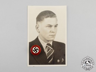 An NSDAP Party Badge with Photo of Recipient