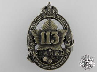 A First War 113th Infantry Battalion Cap Badge CEF