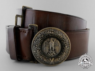 A German Army General's Belt & Buckle Named to Generalmajor Johannes Hahn; Published
