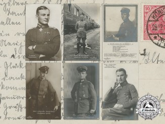 Six First War German Imperial Airmen Postcards; Pour-le-Merite Recipients