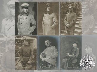 Six First War German Imperial Airmen Postcards