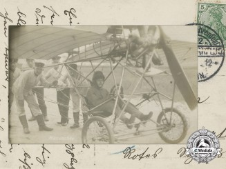 A German Flying Pioneer Bruno Hanuschke Postcard 1910