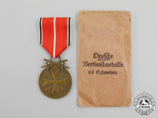 "A Mint Order of the German Eagle; Bronze Merit Medal with Swords by ""Munzamt. Wien"", in Pocket of Issue"