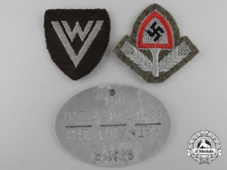 Three German RAD Insignia with ID Tag