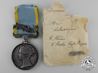 A Crimea Medal to R. Bean; 2nd Battalion Rifle Brigade