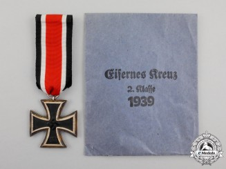An Iron Cross 1939 Second Class in its Packet of Issue by Eugen Grauss of Pforzheim