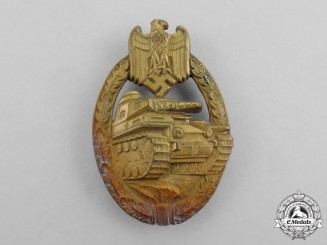 A Early Field Repaired German Bronze Grade Tank Badge