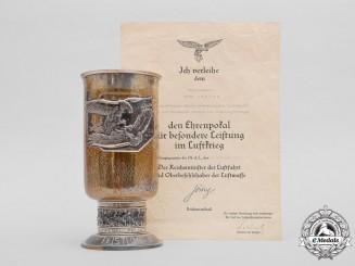 A Silver Goblet & Document Group to 'Immelmann' Dive Bomber Pilot Felix Schenk