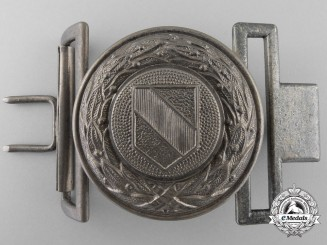 A Third Reich Baden Fire Defence Service Officer's Belt Buckle; Published Example