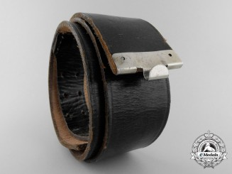 A Black German Police Officer's Belt with RZM Control Stamping & Named.
