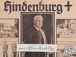 A 1934 Newspaper Frontpage of the Death of von Hindenburg with his Signature