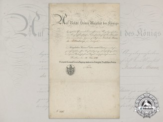 An 1876 Prussian Order of the Crown Award Document to Friedrich Alexander Kottenkamp
