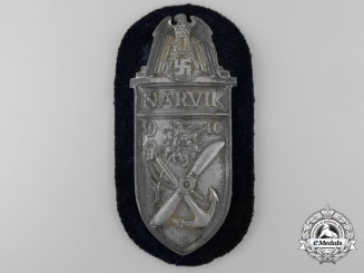 A Kriegsmarine Issued & Uniform Removed Narvik Shield