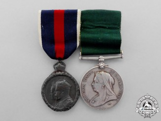 A Colonial Auxiliary Forces Long Service Medal Pair to Sergeant Major N. Fletcher, 8th Regiment