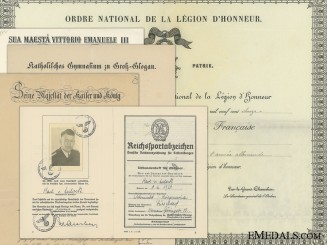 French, Italian, & German Award Documents to Captain Von Aulock; German Army