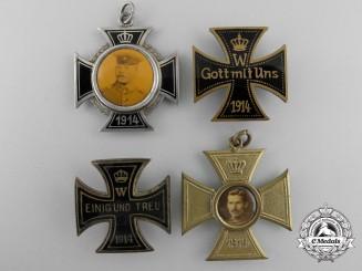 Four First War German Memorial Iron Cross Badges