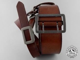 A Double Claw Open Buckle with Brown Leather Belt & Shoulder Strap