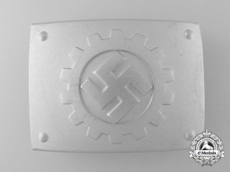 A German Labour Front Stosstrupp of the Werkschar EM Belt Buckle with RZM Control Tag