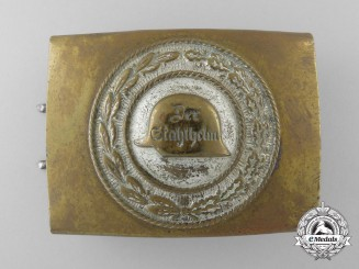 A Third Reich Period Steel Helmet (Der Stahlhelm) Veteran's Belt Buckle; Published Example