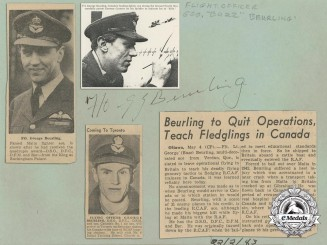 Flying Officer George Frederick Beurling DSO, DFC, DFM & Bar, RAF & RCAF Autograph