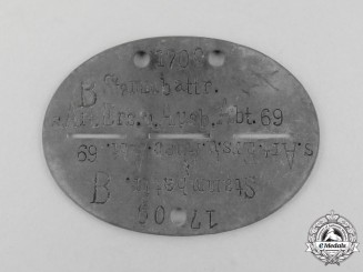 A Second War German Artillery Replacement and Training Battailon Identification Tag