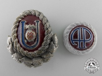 A Set of Second War Ustasha Officer Cap Badges