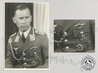 A Signed Photograph of Oberleutnant Wilhelm Joswig, 9./Sturzkampfgeschwader 2