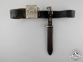 A Third Reich Period Spanish Falange Youth Knife with Belt & Buckle