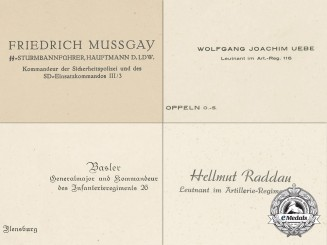 Four German Military Business Cards; Mussgay, Joachim, Basler, & Raddau
