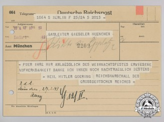 A Telegram from Reischsmarschall Hermann Göring to District Leader (Gauleiter) Gieseler of Munich