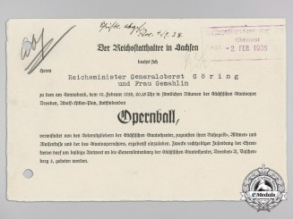 A 1938 Invitation for Reichsminister Hermann Göring and Wife to Attend an Opera and Ball