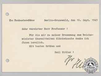 A Signed Reich Labour Service Thank You Card from Reichsarbeitsführer Konstnatine Hierl to Professor Dr. Morrel