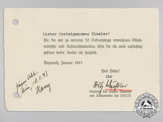A Signed Thank You Card from District Leader (Gauleiter) Fritz Wächtler of Bayreuth to District Leader 1943