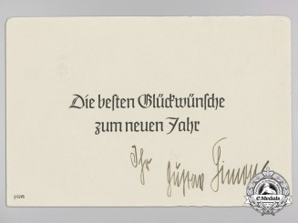 A New Year's Christmas Card Signed by Gauleiter Gustav Simon; Chief of Luxembourg