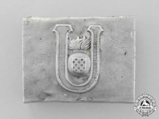 Croatia. A Ground-Found Ustasha Enlisted Man's/NCO's Belt Buckle