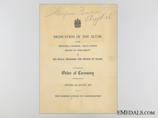 Peace Tower Altar Dedication Programme, Ottawa, August 3, 1927