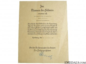 Promotion Document - Meister of the Schutzpolizei