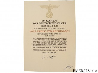 Promotion Document to an Oberst in Luftwaffe