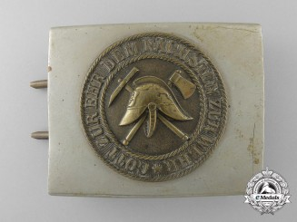 A Weimar Volunteer Fire Defence Belt Buckle; Large Size & Published