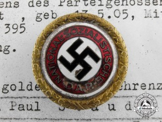 A Large Size NSDAP Golden Party Badge to Paul Staudt