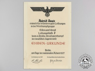 A 1937 HJ Achievement Document at the Berlin Trades Competition