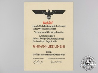 An HJ Award Document for Great Achievements of a Hitler Youth Boy at the Trades Competition in Berlin 1937