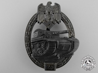 A Silver Grade Tank Assault Badge; for Twenty-Five Engagements